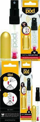 Perfume Pod Clear Refillable Atomiser with Spray & Genie-S Refill (Gold)