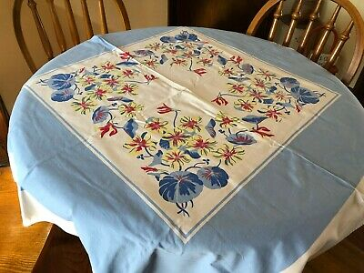 Vintage YELLOW, RED & BLUE Floral Cottage Tablecloth Garden 51 x 48  #4