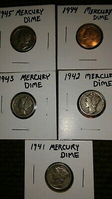 1940's Mercury Dimes Lot of 5 - 90% Silver - US Coins