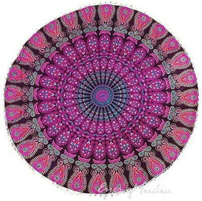 "Eyes of India - 32"" Purple Pink Mandala Large Floor Pillow Cover Meditation..."