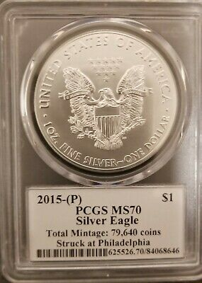 2015 (P) Silver Eagle PCGS MS70 Mercanti Signed Flag Label Total Mintage: 79,640