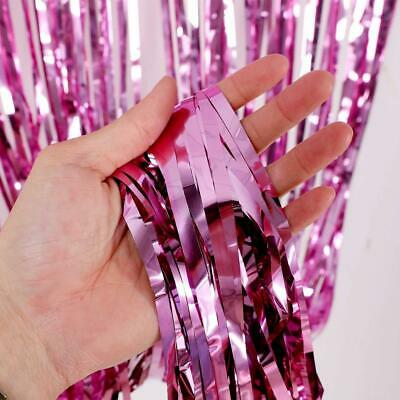 3 Pack Metallic Tinsel Curtains, Foil Fringe Shimmer Curtain Door Window Pink