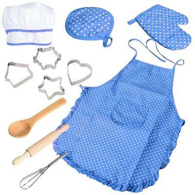 11 Pcs Kids Cooking and Baking Set Chef for Kitchen Play with Apron Girls,...