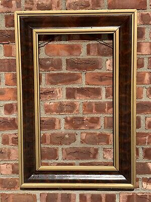 C1875 American Ogee Picture Frame. Mahogany Veneer With Roman Bronze Bands