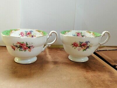 "2 x Paragon Rockingham Green breakfast tea cups "" Good Condition First"