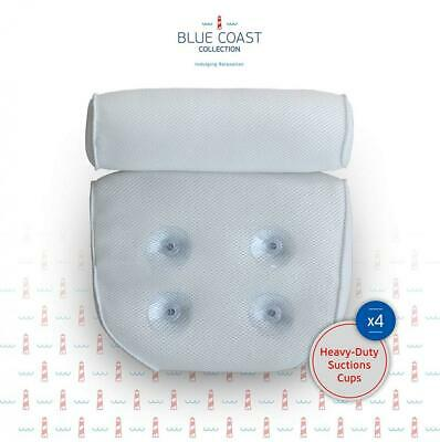Blue Coast Collection–Bath Pillow for Tub with 4 Strong Suction White