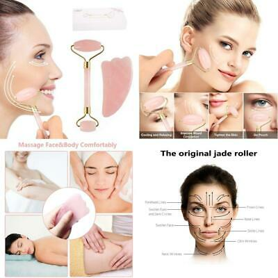 Jade Roller for Face and Gua Sha Massage, Body Relaxation; Real Natural Rose...