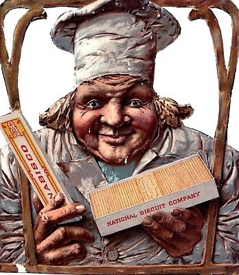 """ANTIQUE TRADE CARD """" NABISCO """" ENGLISH NATIONAL BISCUIT & CO."""" CHEF 19th c."""