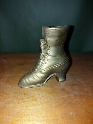 Vintage Brass Boot old retro decorative ornaments kitsch collectible metal weird