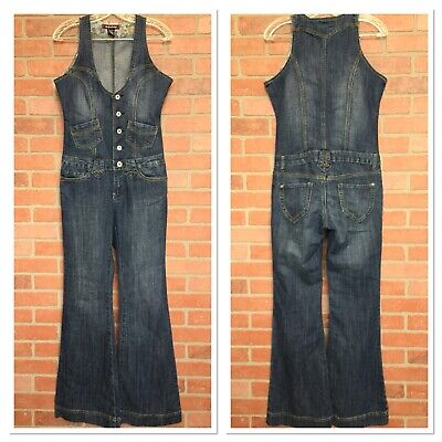 2a2eef2dda14 Vanilla Star Womens M Vintage 60s 70s Style Jeans Overalls Jumpsuit Flare  (4E13)