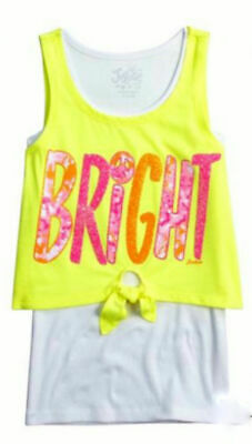 """222b3710f26f1 Girls Justice """"Bright"""" Tank Top Yellow With Pink And Orange Glitter Size 10"""