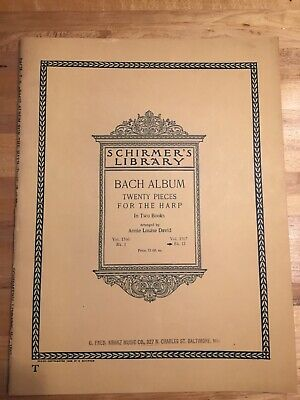 Schirmer's Library Bach Abu Twenty Pieces for the Harp 1936