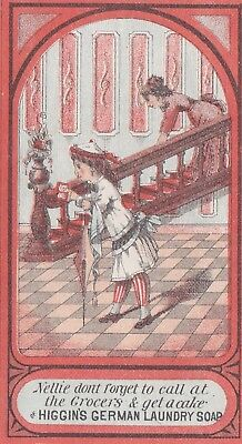 Antique Victorian Trade Card Nellie German Laundry Soap.*
