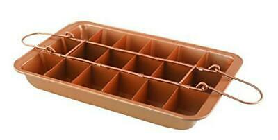 Gr8 Home Copper 18 Portions Divider Brownies Maker Bake Tray Tin Pan Set Non Sti