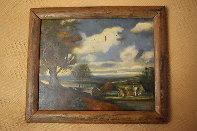 Oil on Wood Landscape Painting