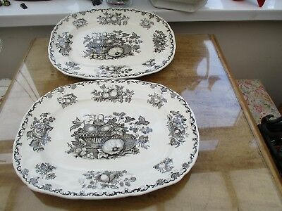 2 x MASONS FRUIT BASKET BROWN & WHITE OVAL PLATE 1st quality