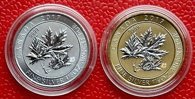 2 x  1,5 oz Multi Maple Leaf 2017 8$ CAD 999 Silber + Silber vergoldet