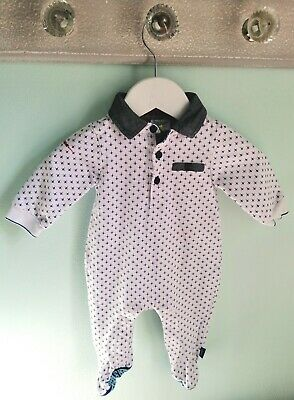 Baby Boys Smart Ted Baker Blue Babygrow Romper Outfit Size 0-3 Months