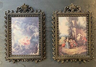Vintage Ornate Square Brass Picture Frame Made in Italy Set Of 2