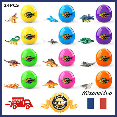 Theefun 24 Pcs Easter Eggs Filled with Popular Dinosaurs and Marine Animals