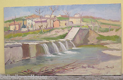 PAINTING ANTIQUE OIL ON BOARD LANDSCAPE VIEW COUNTRYSIDE SIGNED p2