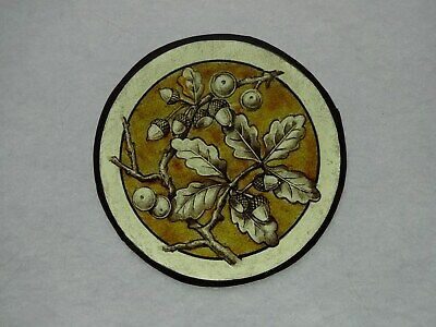 Beautiful Stained glass.OAK.Hand painted.Kiln fired.Diameter -120mm.Antique st.