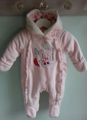 Baby Girls Pretty Pink Velour Pramsuit All In One By Pitter Patter Size 0-3m