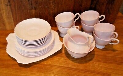 TUSCAN 1940s - PALE PINK - FINE ENGLISH BONE CHINA - 21 piece set....with issues