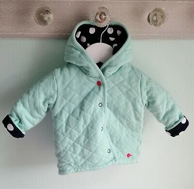 Baby Girls Cute Reversible Hooded Jacket Coat By BHS Size 0-3 Months