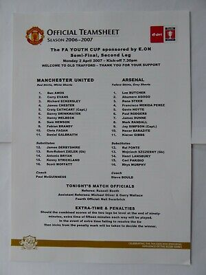 Manchester United Man Utd v Arsenal FA Youth Cup FAYC 2006 / 2007