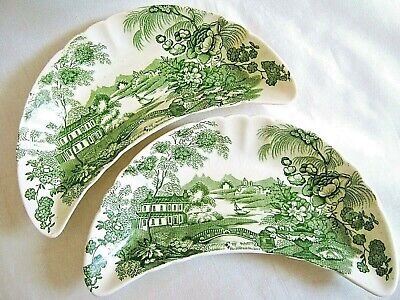 2 Vintage Royal Staffordshire Clarice Cliff Bone Dishes TONQUIN England Green