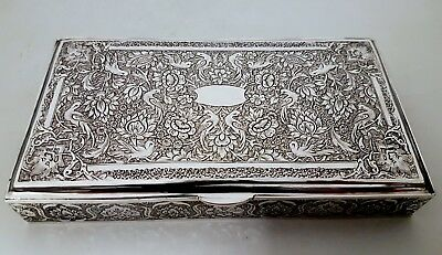 Finest Antique Eastern Persian Islamic Hand Chased Signed Solid Silver Box 289g