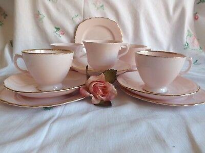 Pretty Vintage Bone China Royal Vale Baby Pink Set Of 5 Trio's