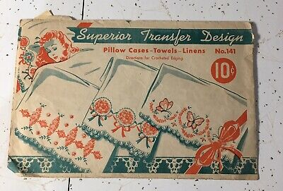 Vtg Superior Transfer Hot-Iron Embroidery Pattern #141 Used