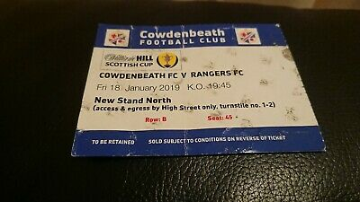 2019  Scottish Cup Ticket  Cowdenbeath V Rangers
