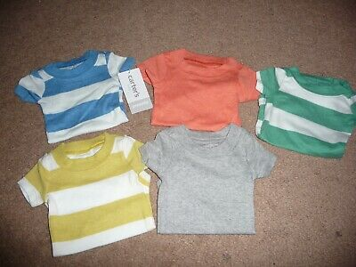 NEW NWT Carters boys size PREEMIE 5 pack bodysuits solids/stripes