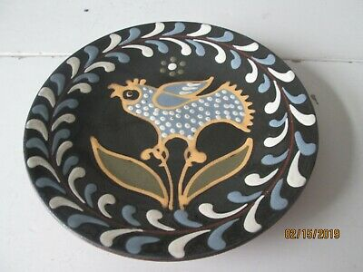 "Wisconsin Pottery 6"" Handpainted Redware Plate Signed By Huntley 2003"