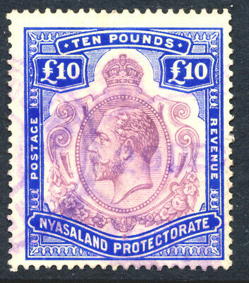 Nyasaland 1913 - £10 Val.with 'BULLET HOLES' Flaw SG 99eh Probably fiscally Used