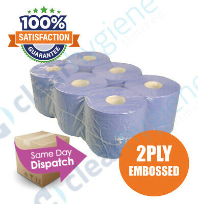 6 x  Blue Centre feed Rolls 2ply Wiper Paper Towel Kitchen Roll✯