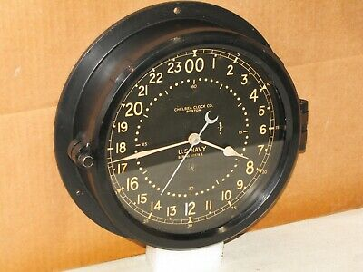 "Chelsea U.s.navy Ships Clock~8 1/2""dial~24 Hr~Ww2~1941~Restored"