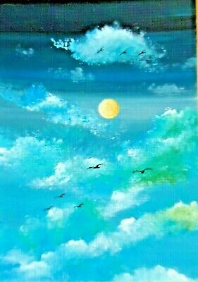 ACEO Original Seagulls Clouds Sky Cloudscape Collectible Miniature Art HYMES