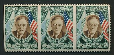 San Marino Stamps 1947 Roosevelt 5L Imperf Error Airmail Block 3 Mnh Vf