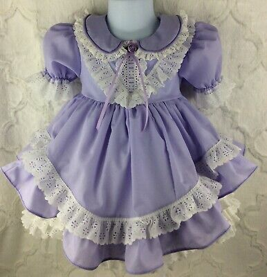 Vintage Style Girls Toddler Size 2 Lavender Purple Ruffle Lace Easter Dress