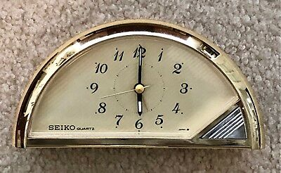 Vintage Seiko Brass and Smoked Glass Mantle Clock Model QEJ168 G Made in Japan
