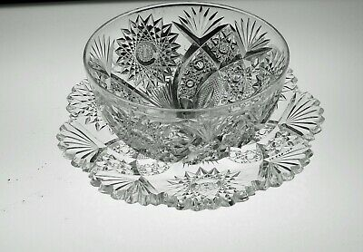 Abp Cut Glass Crystal Finger Bowl And Underplate By Hawkes #2