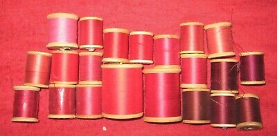 856c46b46c9b VINTAGE SEWING THREAD on Wooden Spools-Various Shades of Red-Lot of ...