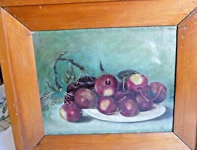 Vintage Oil Painting still life of Apples in very nice frame.,signed Vincente
