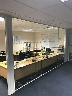 4.2 METRE WIDE By 2.4 METRE HIGH OFFICE or ROOM DIVIDING GLASS PARTITION