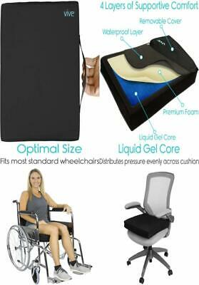 "Vive Wheelchair Cushion - Gel Seat Pad for Coccyx, Orthopedic Back 20"" x 16"""