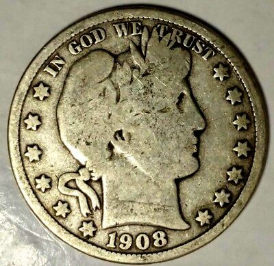1908-D 50C Barber Half Dollar, 19wls0112-1 90% Silver, 50 Cents Shipping